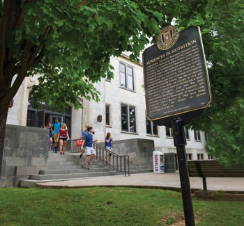 Historical markers at the University of Arkansas