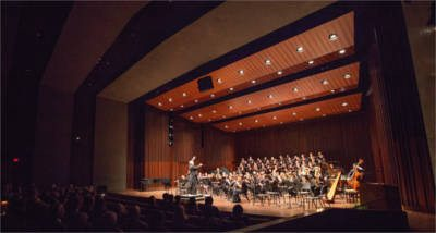 Symphony performance in the Jim and Joyce Faulkner Performing Arts Center