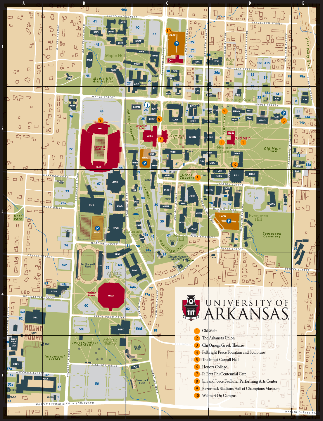 campus map university of arkansas online visitor s guide