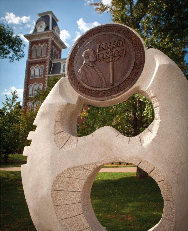 Sculpture on the University of Arkansas campus