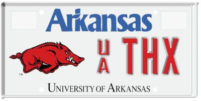 University of Arkansas license plate