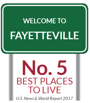 A sign that says Welcome to Fayetteville, No. 5 Best Places to Live US News and World Report 2016
